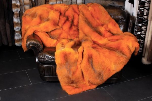 Europäische Rotfuchs Echtpelz Felldecke in Orange