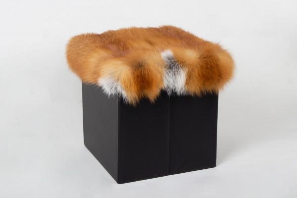 Kanadischer Rotfuchs Würfel Sitzhocker aus Echtfell