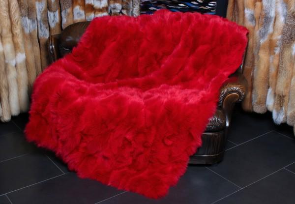 Skandinavische Shadowfuchs Stücken Pelzdecke in Rot