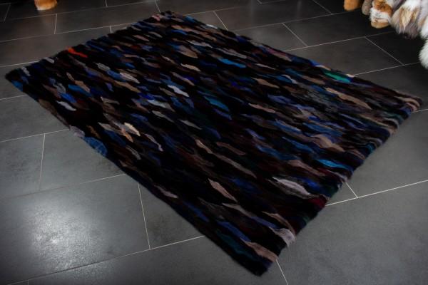 Nerzschweif Pelz Teppich in Midnight Blue