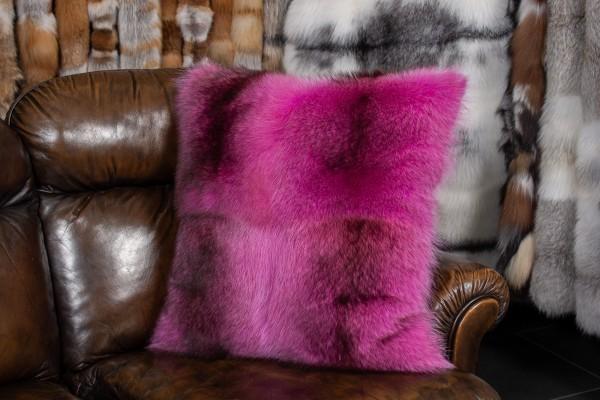 Pinkes Waschbär Echtpelz Kissen