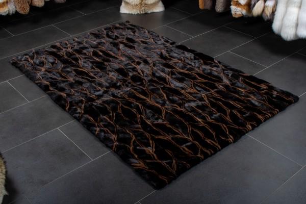 Echtfell Nerz Fellteppich in Schwarz Braun