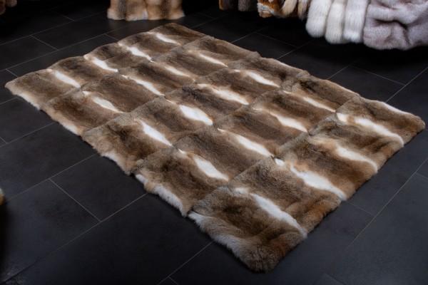 Hasenfarbiger Kaninchen Teppich aus Echtfell