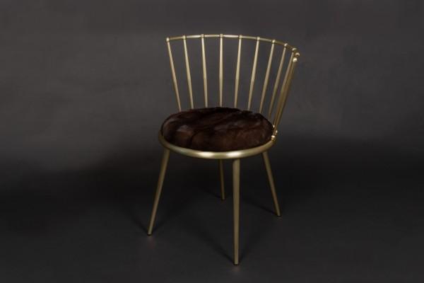 Nerzfell Stuhl aus Mahagony Nerzen